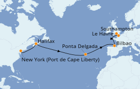 Itinéraire de la croisière Transatlantiques et Grands Voyages 2021 13 jours à bord du Anthem of the Seas