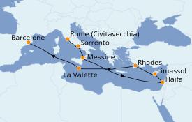 Itinéraire de la croisière Méditerranée 13 jours à bord du Seven Seas Splendor