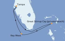 Itinéraire de la croisière Bahamas 5 jours à bord du Norwegian Dawn
