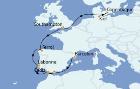 Itinerario de crucero Mediterráneo 12 días a bordo del MSC Grandiosa