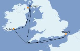 Itinéraire de la croisière Îles Britanniques 10 jours à bord du Carnival Legend