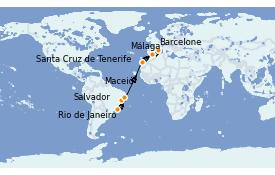 Itinéraire de la croisière Transatlantiques et Grands Voyages 2023 15 jours à bord du Costa Favolosa