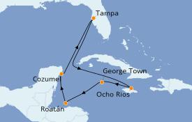 Itinéraire de la croisière Caraïbes de l'Ouest 9 jours à bord du Carnival Paradise