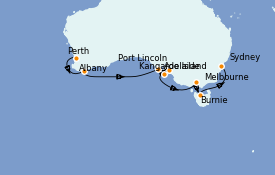 Itinéraire de la croisière Australie 2021 12 jours à bord du ms Oosterdam