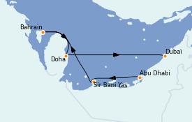 Itinéraire de la croisière Dubaï - Emirats 7 jours à bord du MSC Fantasia