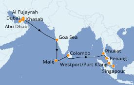 Itinéraire de la croisière Asie 18 jours à bord du Norwegian Jade
