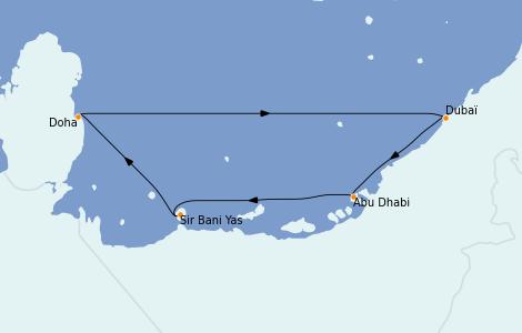 Itinéraire de la croisière Dubaï - Emirats 7 jours à bord du MSC Virtuosa