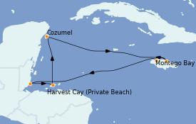 Itinéraire de la croisière Caraïbes de l'Ouest 8 jours à bord du Norwegian Joy