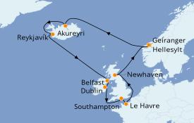 Itinéraire de la croisière Îles Britanniques 15 jours à bord du Norwegian Star