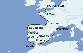 Itinéraire de la croisière Méditerranée 16 jours à bord du MS Insignia