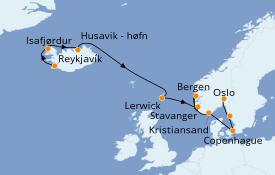 Itinéraire de la croisière Fjords & Norvège 13 jours à bord du Seven Seas Voyager