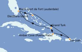 Itinéraire de la croisière Caraïbes de l'Est 8 jours à bord du Enchanted Princess