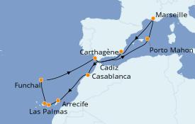 Itinéraire de la croisière Méditerranée 15 jours à bord du Jules Verne