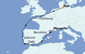 Itinéraire de la croisière Méditerranée 13 jours à bord du MSC Seaview