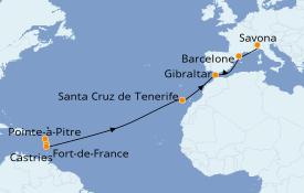 Itinéraire de la croisière Transatlantiques et Grands Voyages 2020 15 jours à bord du Costa Magica