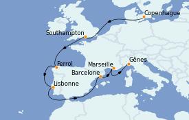 Itinéraire de la croisière Méditerranée 11 jours à bord du MSC Seaview