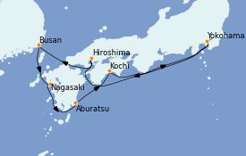Itinéraire de la croisière Asie 10 jours à bord du Queen Elizabeth
