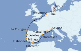 Itinéraire de la croisière Méditerranée 14 jours à bord du Costa Favolosa