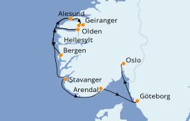 Itinéraire de la croisière Fjords & Norvège 8 jours à bord du