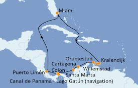 Itinéraire de la croisière Caraïbes de l'Est 13 jours à bord du Norwegian Encore