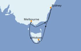 Itinéraire de la croisière Australie 2020 7 jours à bord du Sapphire Princess