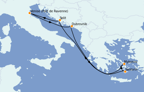 Itinéraire de la croisière Grèce & Adriatique 7 jours à bord du Brilliance of the Seas