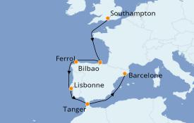 Itinéraire de la croisière Méditerranée 9 jours à bord du MSC Magnifica