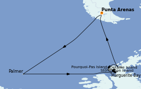 Itinéraire de la croisière Amérique du Sud 19 jours à bord du Le Commandant Charcot