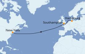 Itinéraire de la croisière Îles Britanniques 10 jours à bord du Queen Mary 2