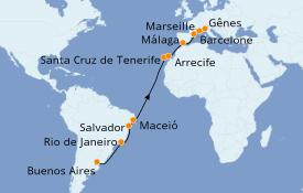 Itinéraire de la croisière Transatlantiques et Grands Voyages 2020 21 jours à bord du Costa Pacifica