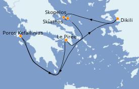 Itinéraire de la croisière Grèce & Adriatique 8 jours à bord du Star Flyer
