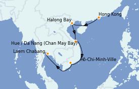 Itinéraire de la croisière Asie 11 jours à bord du Silver Muse