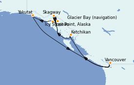 Itinéraire de la croisière Alaska 11 jours à bord du Majestic Princess