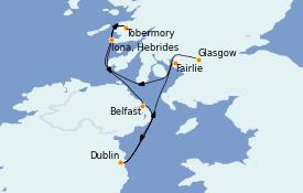 Itinéraire de la croisière Îles Britanniques 7 jours à bord du Le Dumont d'Urville