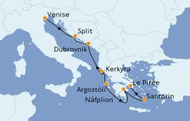 Itinéraire de la croisière Grèce & Adriatique 8 jours à bord du Silver Moon