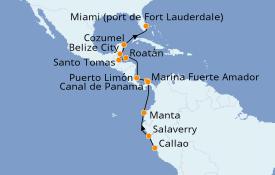 Itinéraire de la croisière Caraïbes de l'Ouest 16 jours à bord du Silver Moon