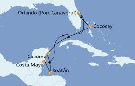 Itinéraire de la croisière Caraïbes de l'Ouest 8 jours à bord du Harmony of the Seas