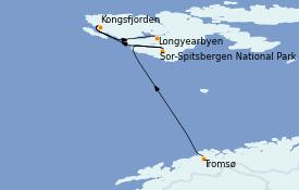 Itinéraire de la croisière Fjords & Norvège 9 jours à bord du L'Austral