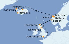 Itinéraire de la croisière Fjords & Norvège 12 jours à bord du Norwegian Star