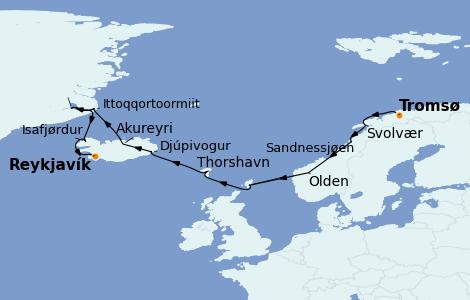 Itinéraire de la croisière Exploration polaire 11 jours à bord du Norwegian Star