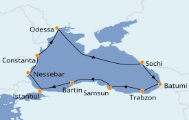 Itinéraire de la croisière Grèce & Adriatique 11 jours à bord du Le Bougainville