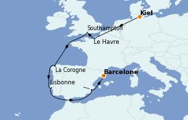 Itinéraire de la croisière Méditerranée 11 jours à bord du MSC Preziosa