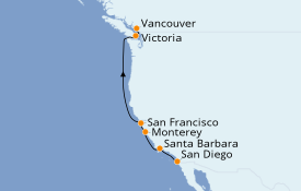 Itinéraire de la croisière Californie 8 jours à bord du ms Volendam