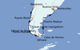 Itinéraire de la croisière Amérique du Sud 13 jours à bord du Celebrity Infinity