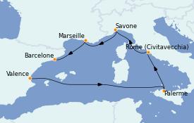 Itinéraire de la croisière Méditerranée 7 jours à bord du Costa Toscana