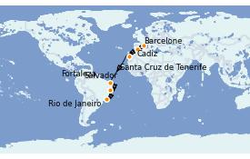 Itinéraire de la croisière Transatlantiques et Grands Voyages 2021 15 jours à bord du MSC Preziosa