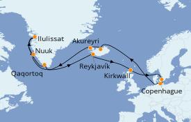 Itinéraire de la croisière Exploration polaire 22 jours à bord du MSC Poesia