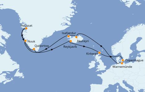 Itinéraire de la croisière Exploration polaire 21 jours à bord du MSC Poesia