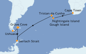 Itinéraire de la croisière Exploration polaire 22 jours à bord du Le Lyrial