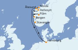Itinéraire de la croisière Fjords & Norvège 10 jours à bord du MSC Preziosa